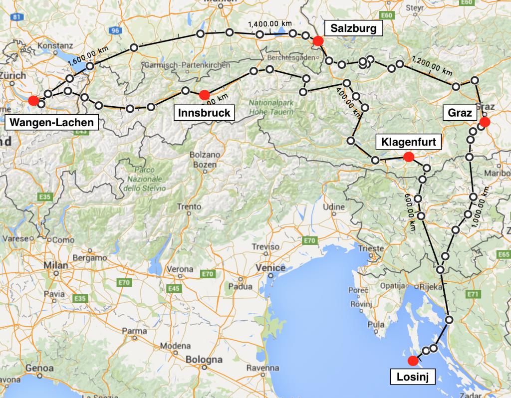 Die knapp 1'700 Kilometer lange Route: Wangen-Lachen (LSPV) - Innsbruck (LOWI) - Klagenfurt (LOWK) - Losinj (LDLO) - Graz (LOWG) - Salzburg (LOWS) - Wangen-Lachen (LSPV).
