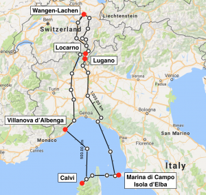 Die Route: Wangen-Lachen - Locarno - Villanova d'Albenga - Calvi - Elba - Lugano - Wangen-Lachen