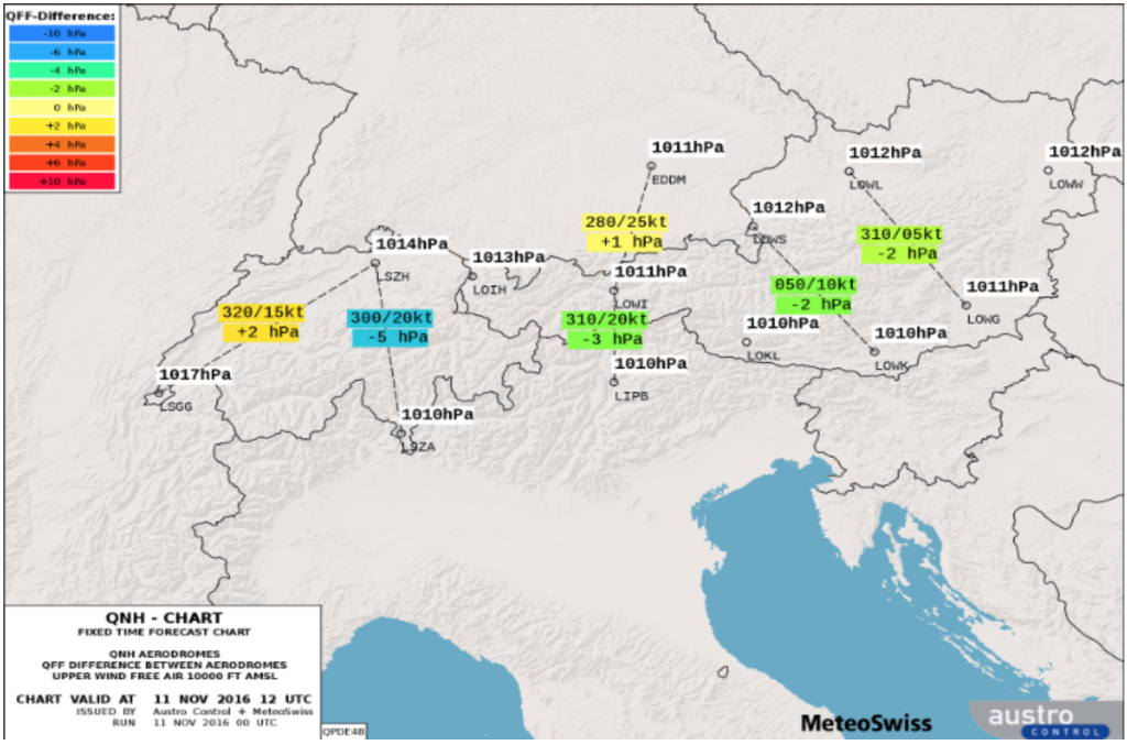 Auf der QNH Karte Alpen sieht man nicht nur das QNH an verschiedenen Standorten, es wird sogar die Differenz angegeben und mittels Farben kodiert.