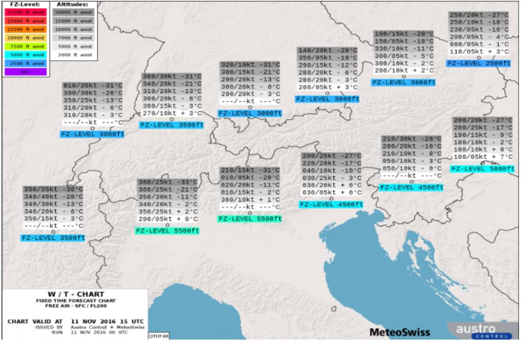 Windrichtung und -stärke sowie Temperaturen und Nullgradgrenze sind auf der Wind & Temperatur Karte Alpen dargestellt.